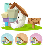 House Cartoon Mascot - Moving house poster