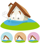 House Cartoon Mascot - Flooding poster