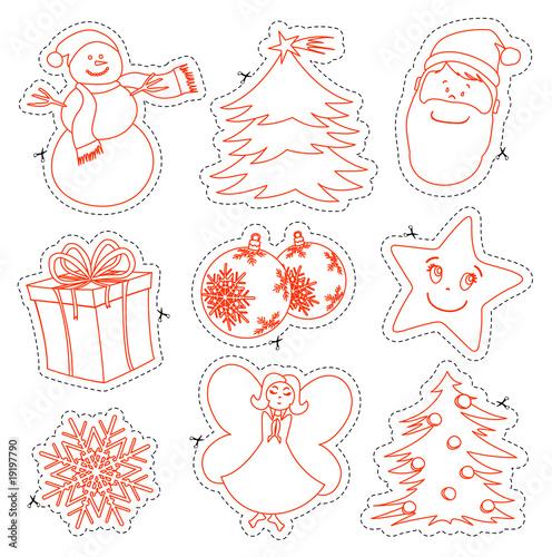 Figure natalizie da colorare e ritagliare immagini e vettoriali royalty free su - Decorazioni natalizie da ritagliare ...