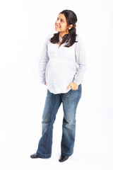 Young pregnant hispanic woman smiling full body portrait