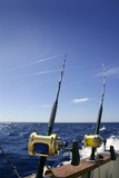 Angler boat big game fishing in saltwater poster