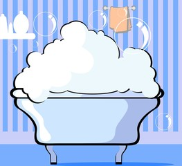 Illustration of bathtub in colour background