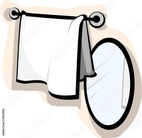 Leinwanddruck Bild Illustration mirror and wash cloth