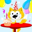 Illustration of a cat standing near a birthday cake