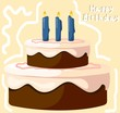 Illustration of a birthday cake and candles lighted