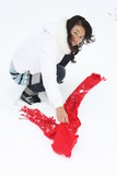 Young asian girl in the snow