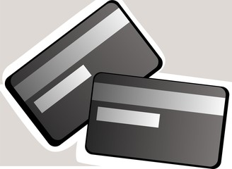 Illustration of debit cards in colour background