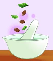 Illustration of Ayurvedic medicine making bowl