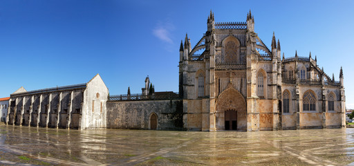 Main entrance panoramic of Batalha Monastery, Portugal.