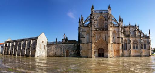 Main entrance panoramic of Batalha Monastery, Portugal.