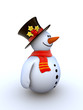 Snowman isolated winter series (fancy snowman on white)