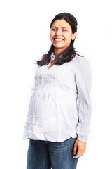 Happy pregnant young woman smiling portrait