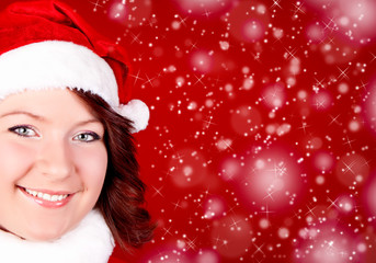 smiling girl in santa cloth