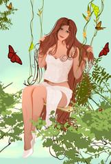 girl on a swing in the garden