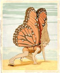 woman butterfly