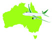 Jet plane flying up with australia map