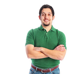 Happy young man in casual green shirt