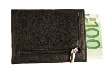 wallet with banknote isolated