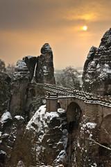 Sonnenaufgang an der Basteibrücke