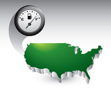gas icon over green united states icon poster