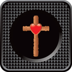 heart and cross black checkered web button