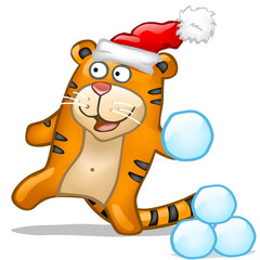 Fun tiger with snowball