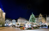 Town square view with Christmas market poster