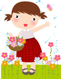 Girl Picking Flowers - Vector