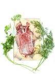 raw poultry with fennel and dill isolated on white poster