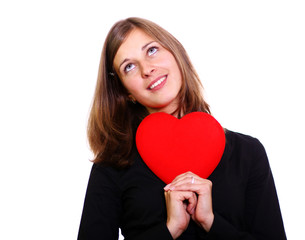 woman holding a red heart over white background