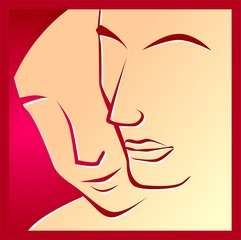 Illustration of two red faces in  a red background