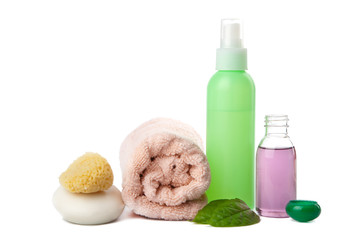 cosmetics and body care products isolated