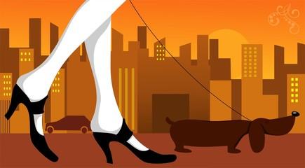 Illustration of Walking with dog