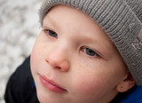 Closeup of Little Boy's Face in Winter