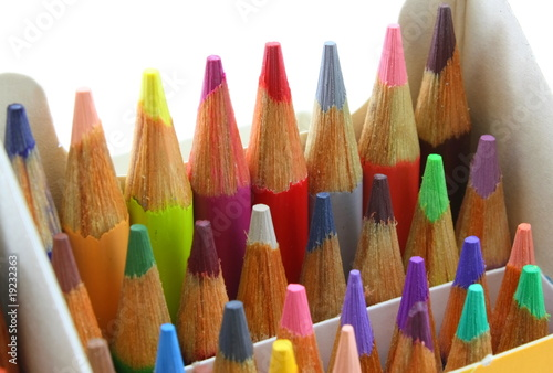 Pencil crayons pack, upright colorful angle shot