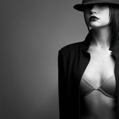 Portrait of beautiful stylish woman in hat