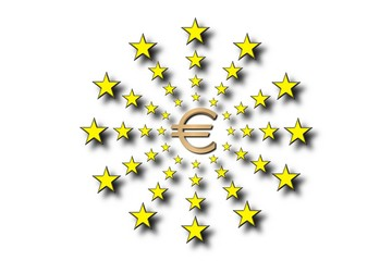Backgroun simbolo euro con estrellas UE