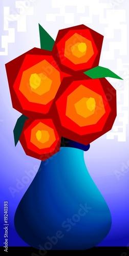 Obraz na Szkle Illustration of flower vase with the flower