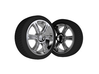 Two isolated 3d chromed wheels