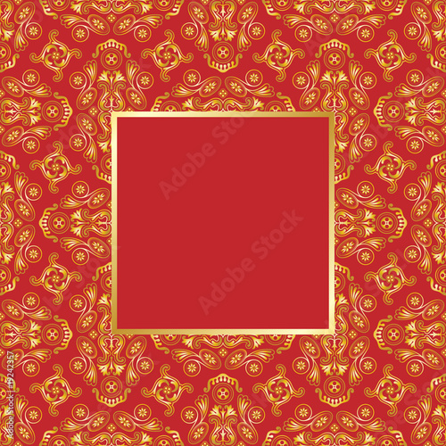 Square Gold on red pattern with frame