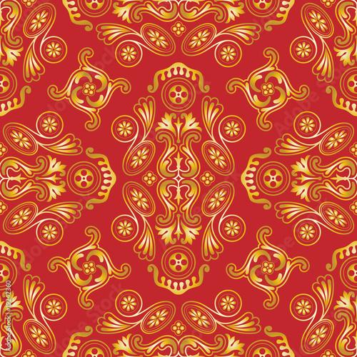 Bezszwowa wektorowa tapeta z złotem na czerwień wzorze