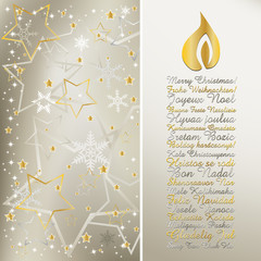 Elegant christmas greeting in different languages with candle