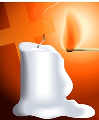 Digital painting of candle to be lighted by a match stick.