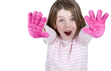 Cute Child with Pink Gloves