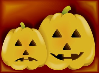 Illustration of a two pumpkin with colour background.