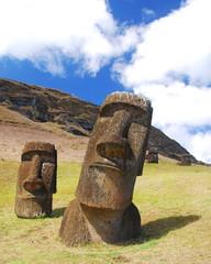 Easter Island moai at Rano Raraku quarry