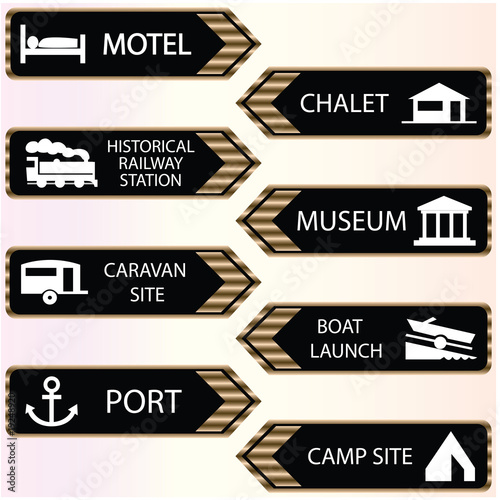 tourist locations icon set black-white - VECTOR