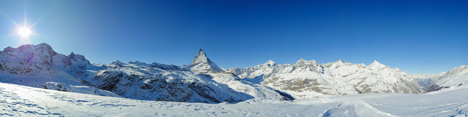 panorama from riffelberg in winter