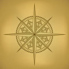 Traditional old-styled wind rose on ancient russet paper