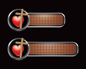 heart and Christian cross bronze checkered tabs
